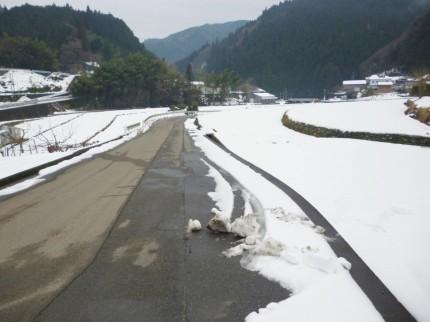 田畑には雪が残っています